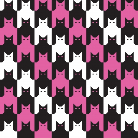 Seamless cats houndstooth pattern in pink and black  Vector
