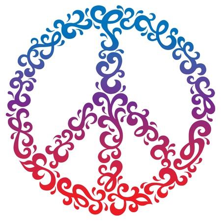 Peace symbol in a retro floral design.