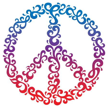 simbolo paz: Símbolo de la paz con un diseño floral retro. Vectores