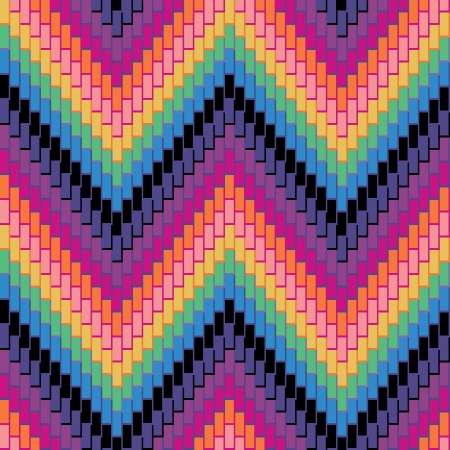 Seamless herringbone pattern in rainbow colors has three-dimensional detail.  Vector