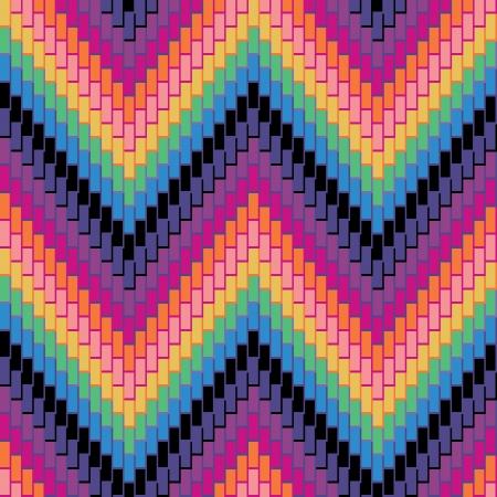 twill: Seamless herringbone pattern in rainbow colors has three-dimensional detail.  Illustration