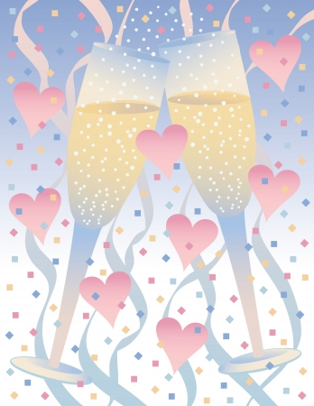 Illustration of two long-stemmed glasses with hearts and confetti. Stock Vector - 19268774