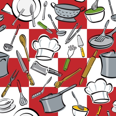 masher: Seamless pattern of everyday utensils used for cooking and eating on a red-and-white checkered background.