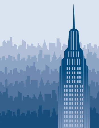 high rise: illustration of a big blue city with area for text