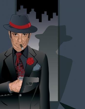 hit man: illustration of a dapper hit man concealing a gun under his jacket