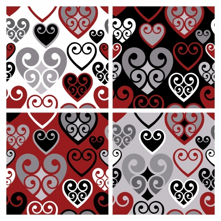 Seamless coiled hearts pattern in four variations of red, black, white and gray