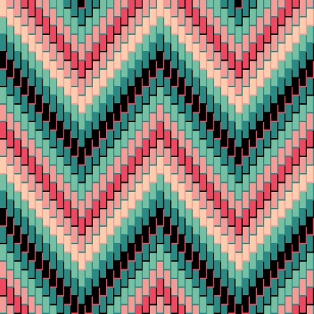 zig zag: Herringbone Pattern in Green and Pink has dimensional detail  Repeats seamlessly
