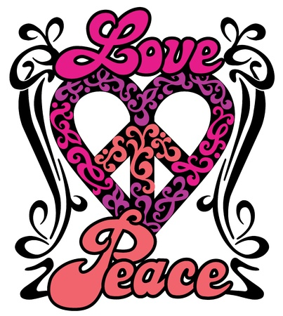 peace and love: Love Peace Heart retro design of a love-peace symbol with the words, Love and Peace in a swirly border