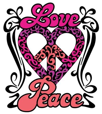 peace symbols: Love Peace Heart retro design of a love-peace symbol with the words, Love and Peace in a swirly border