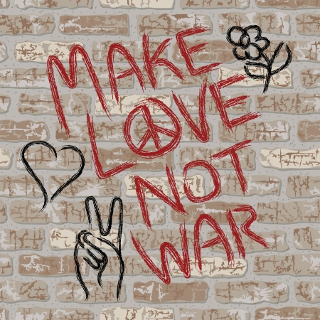 grunged: Make Love Not War anti-war graffiti on a seamless brick wall