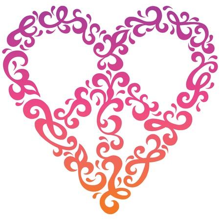 simbolo de la paz: Diseño del corazón de la paz en un estilo retro de los años 1960 de los años 1970