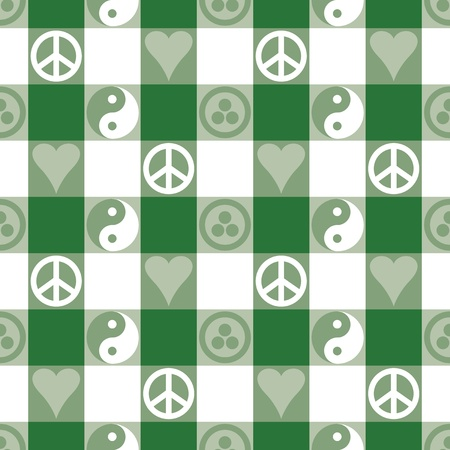 treaty: Peace Plaid in Green seamless pattern in blue with Yin Yang, heart and peace symbols and Banner of Peace  Pax Cultura, Roerich s Pact