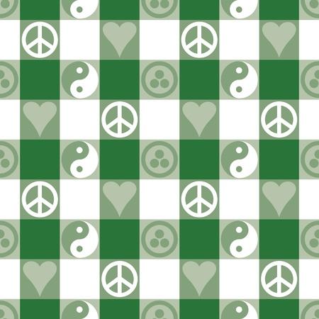 pacto: Plaid Paz en patr�n transparente verde en azul con Yin Yang, s�mbolos de paz del coraz�n y la Bandera de la Paz y Pax Cultura, Pacto Roerich s