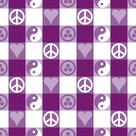 Peace Plaid in Purple seamless pattern in blue with Yin Yang, heart and peace symbols and Banner of Peace  Pax Cultura, Roerich s Pact   Vector