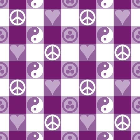 pacto: Plaid Paz en modelo incons�til p�rpura en azul con Yin Yang, s�mbolos de paz del coraz�n y la Bandera de la Paz y Pax Cultura, Pacto Roerich s