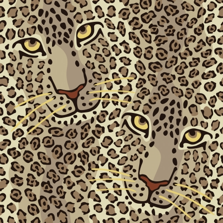 pattern of a Wild Cat Couple repeats seamlessly  Vector