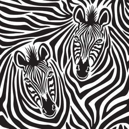 t�te de z�bre: motif d'un couple Zebra r�p�te de fa�on transparente Illustration