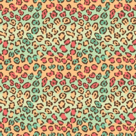 Spotted Cat Pattern in Orange and Green repeats seamlessly. Vector