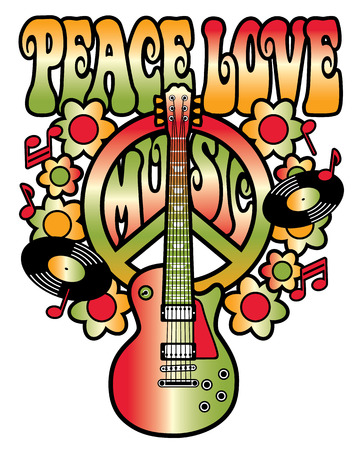 slogan: Peace Love Music in Red and Green