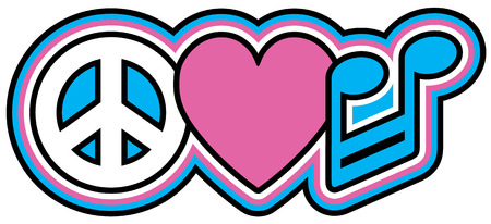 Peace Music Love en rosa y azul Foto de archivo - 24526134