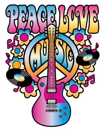 PEACE LOVE MUSIC tekst ontwerp met vredessymbool, gitaar, vinylplaten, bloemen en muzieknoten in roze, geel en blauw gradiënten