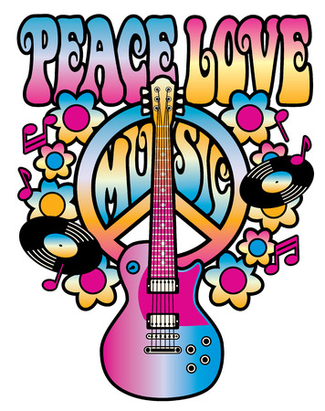 PEACE LOVE MUSIC text design with peace symbol, guitar, vinyl records, flowers and musical notes in pink, yellow and blue gradients