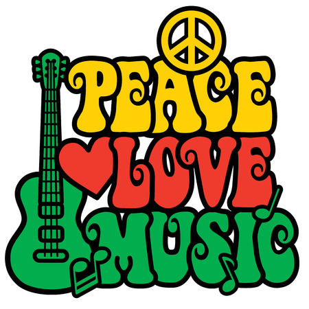 Reggae Peace Love Music design with guitar, peace symbol, heart and musical notes in Rasta colors  Type design is my own