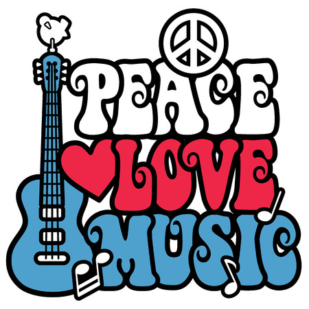 80's: Peace Love Music design with guitar, dove, peace symbol, heart and musical notes in patriotic colors  Type design is my own