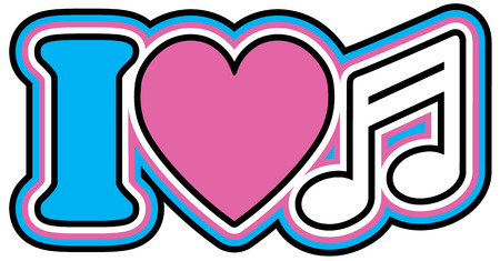 barred: I Love Music icon design with heart and barred note symbols in pink, blue, black and white  Illustration