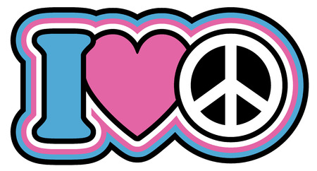 peace sign: I Heart Peace icon design in blue, pink, black and white