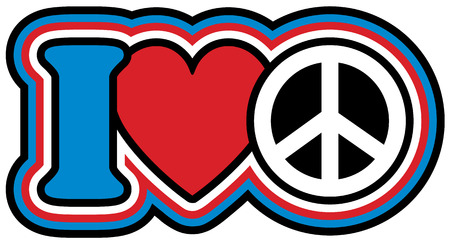 I Heart Peace icon design in red, white and blue