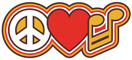 Peace Love Music icon design in red, yellow, black and white   Illustration