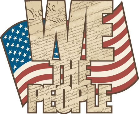 antiqued: Vectpr WE THE PEOPLE text design filled with the Constitution of the United States with the American Flag in the background in aged colors  Illustration