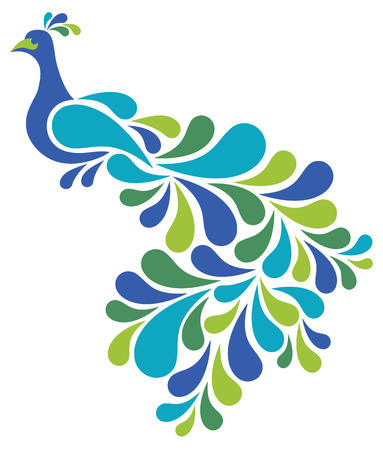Retro-styled illustration of a peacock in blues and greens