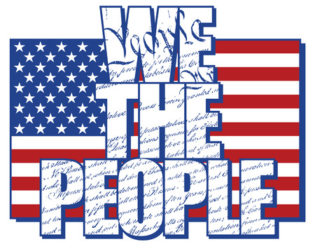 WE THE PEOPLE type design filled with the Constitution of the United States with the American Flag  Vector