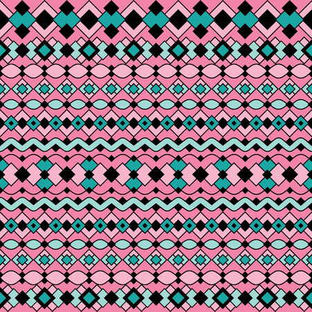 Art Deco Pattern in pinks and blues repeats seamlessly