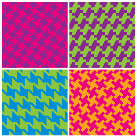 preppy: Four different houndstooth patterns in bright retro colors