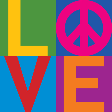 Type design of LOVE with Peace Symbol in a stacked color-block design