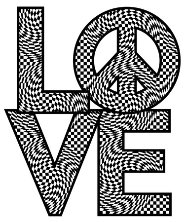 trippy: Type design of LOVE with a peace symbol in an twisty checkered pattern