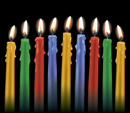 Nine colorful lit candles isolated on black  AI10  eps file uses grandient mesh and transparency