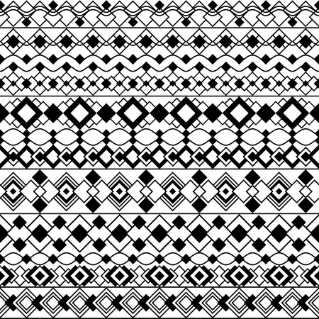 Seamless pattern of geometric, Art Deco-inspired borders in black and white