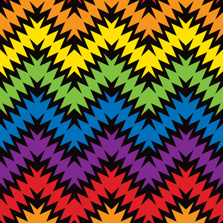 Jagged ZigZag pattern in primary and secondary colors. Иллюстрация