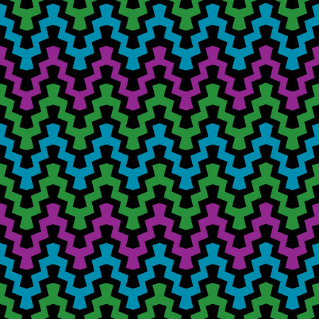 Retro Zigzag Pattern in cool colors. Banco de Imagens - 31483065