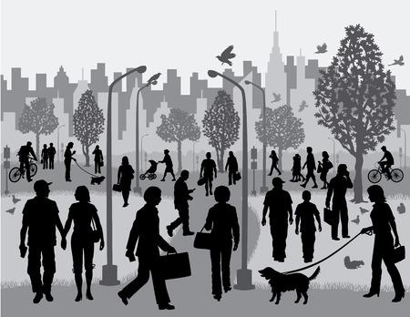 도시 공원에 사람들