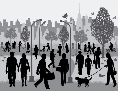 People in a City Park Vector