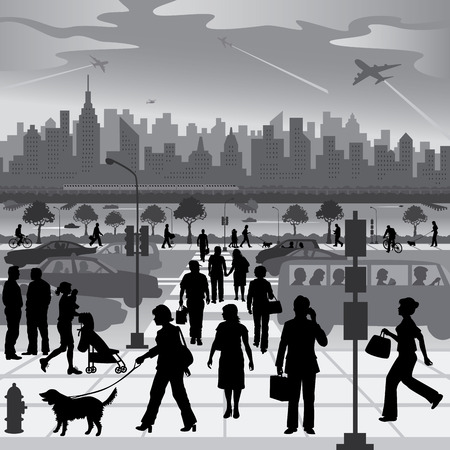 Urban People on the Move Vector