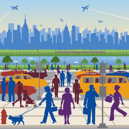 백그라운드에서 일반 도시와 교통에있는 사람들.
