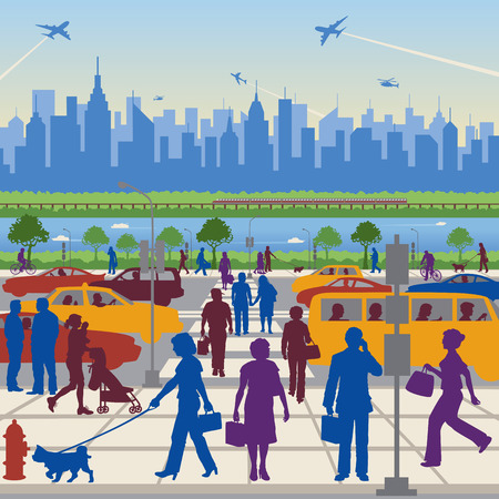 People in Transit with a generic city in the background. Vector