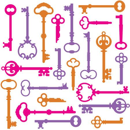passkey: Vintage Keys design will repeat seamlessly. Illustration