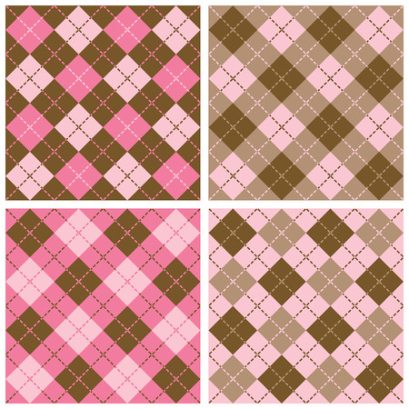 preppy: Collection of Plaid and Argyle Patterss in Pink and Brown